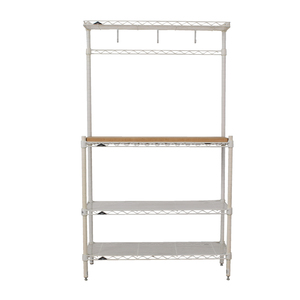 Elfa White and Natural Wood Bakers Rack sale