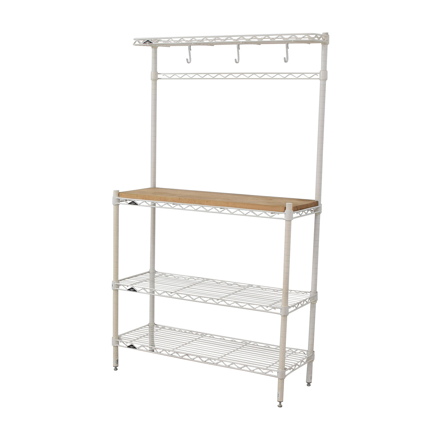 ... Elfa White And Natural Wood Bakers Rack / Utility Tables ...