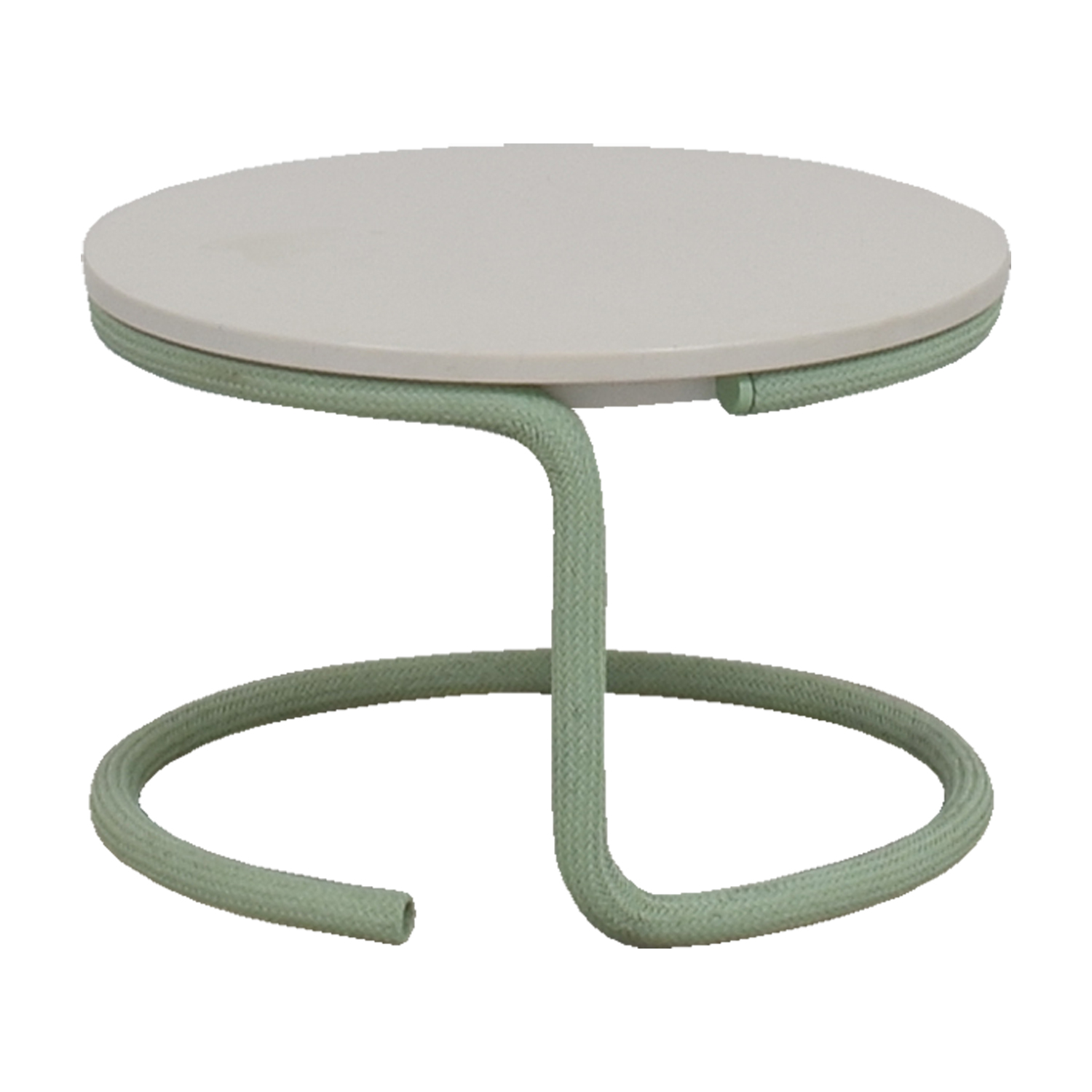 buy Urban Outfitters White Round Top with Green Base Side Table Urban Outfitters End Tables