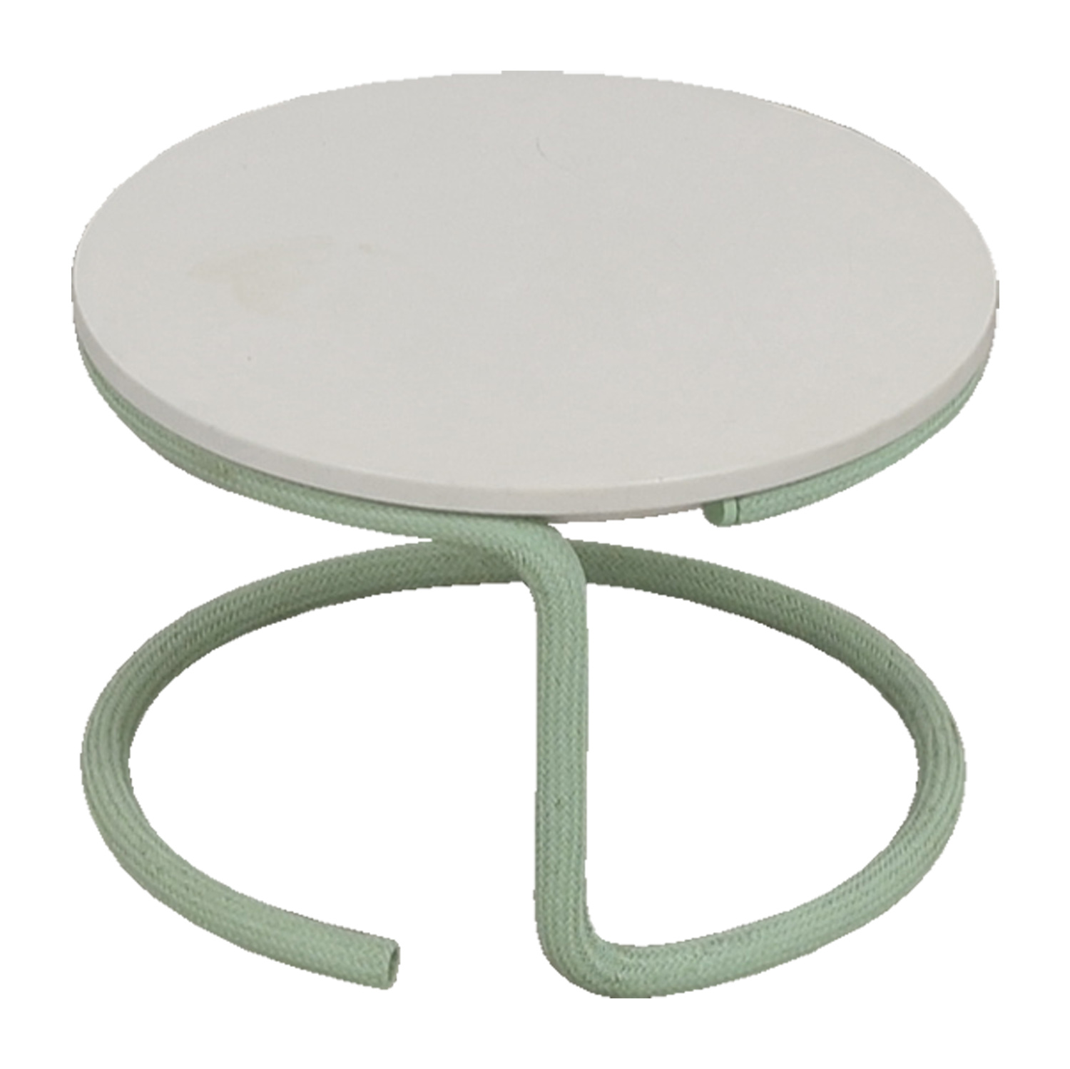 buy Urban Outfitters White Round Top with Green Base Side Table Urban Outfitters