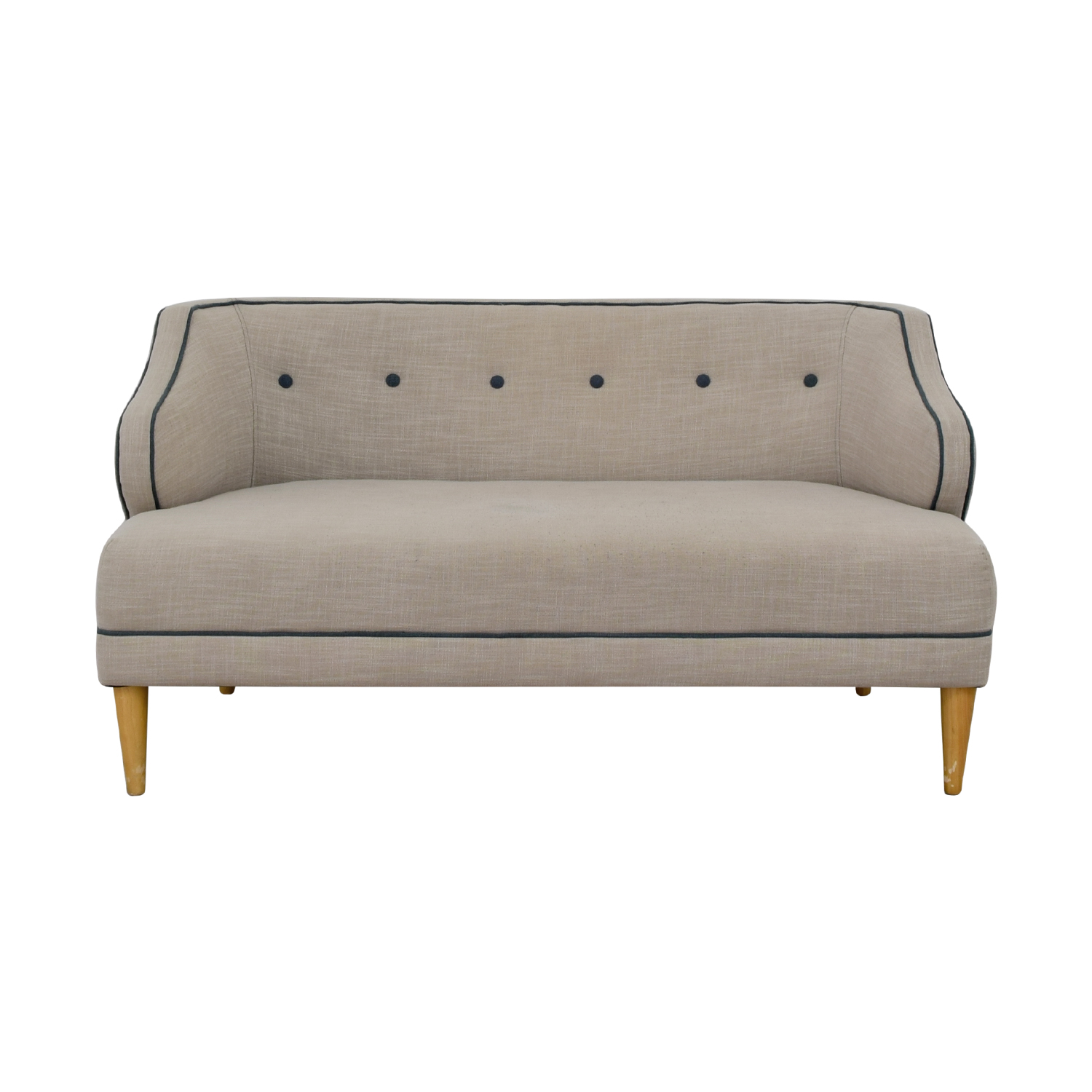 West Elm West Elm Custom Beige Upholstered Captain Loveseat for sale