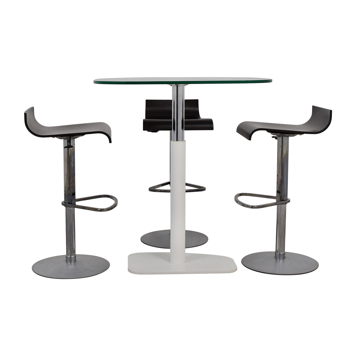 Ligne Roset Adjustable Counter Height Table and Bar Stools Ligne Roset