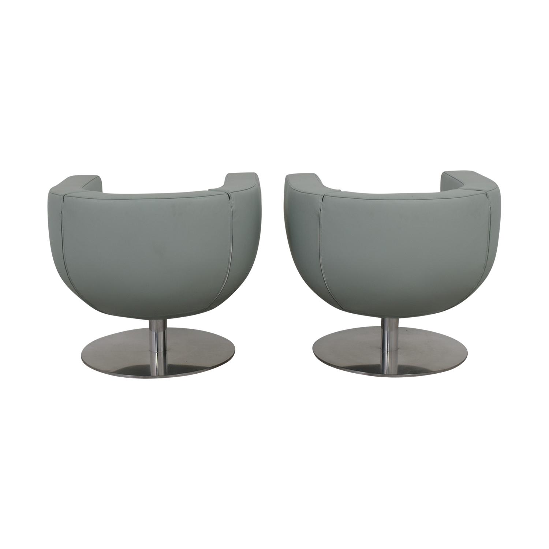 B & B Italia B & B Italia Blue Leather Swivel Accent Chairs price