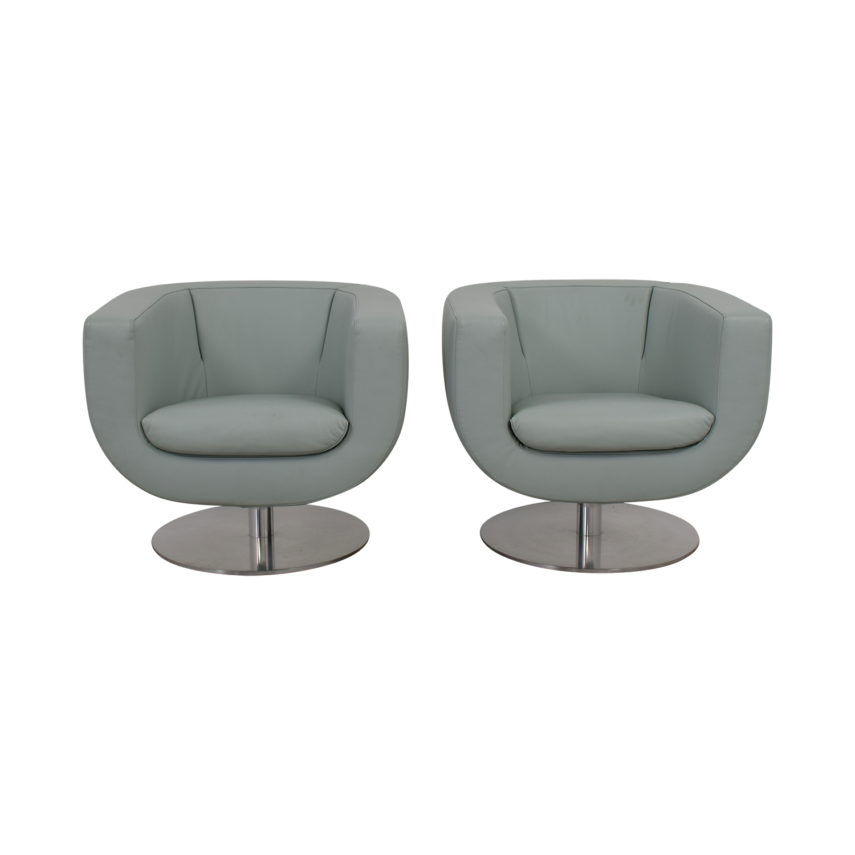B & B Italia B & B Italia Blue Leather Swivel Accent Chairs Chairs