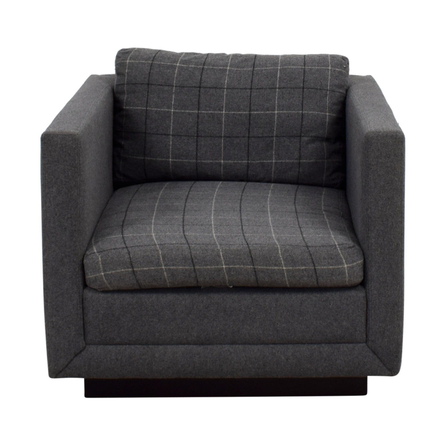 Jonathan Adler Jonathan Adler Blakeley Grey Plaid Accent Chair second hand