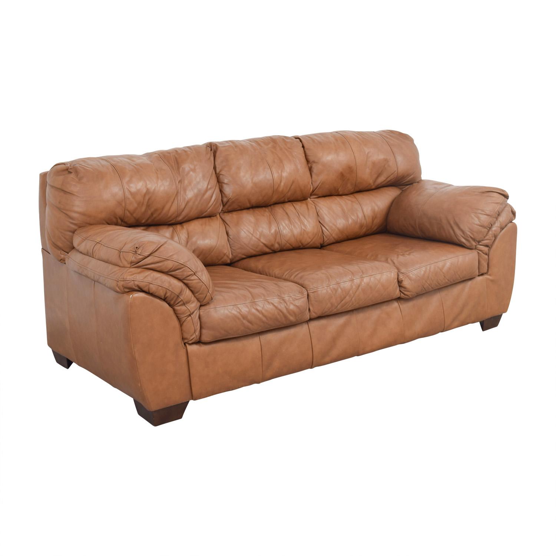 90 Off Paprika Leather Three Cushion Sofa Sofas