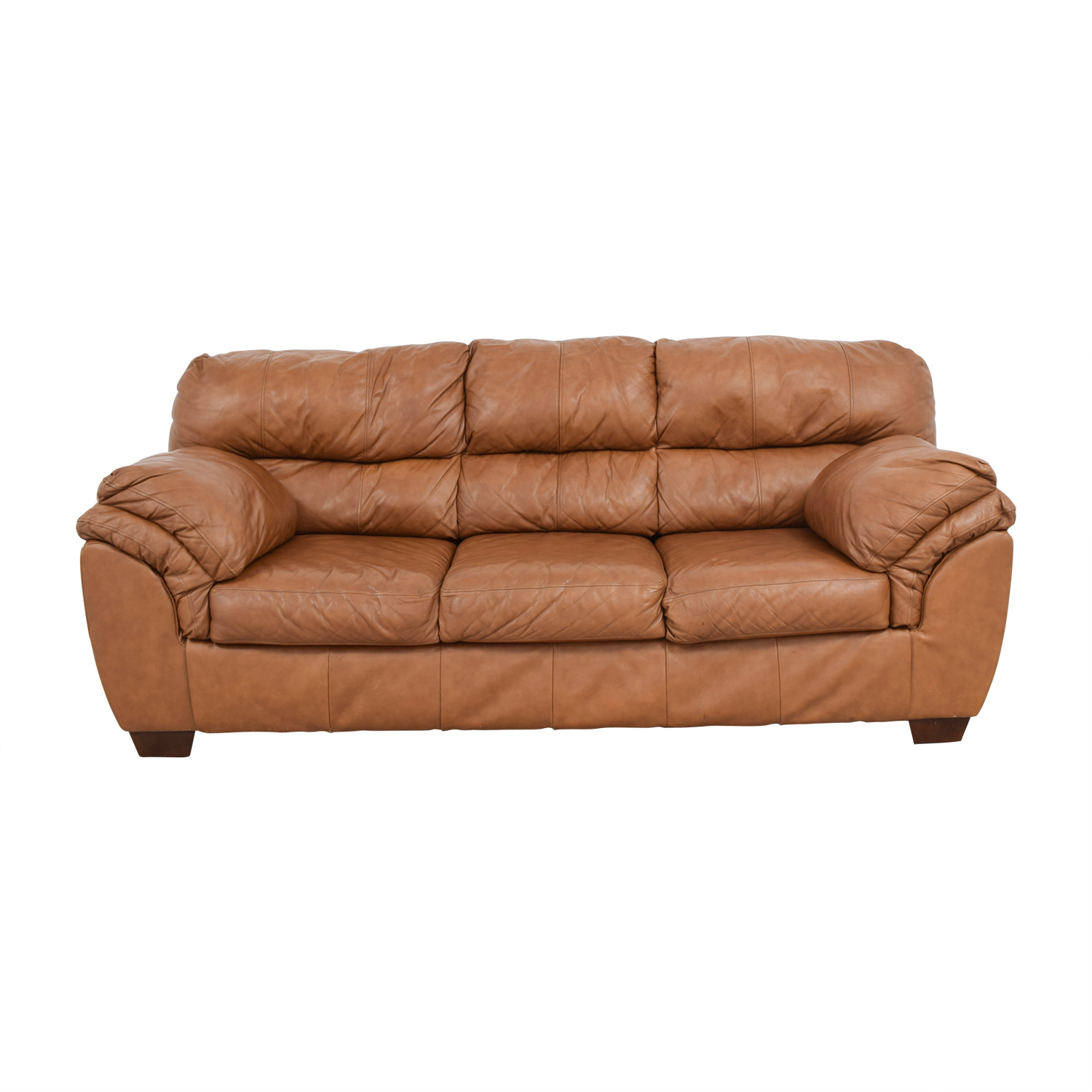 Paprika Leather Three-Cushion Sofa brown