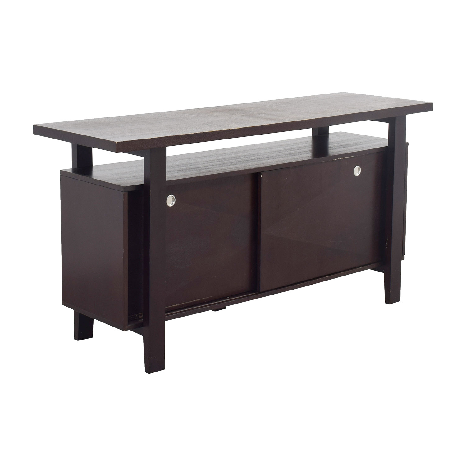 Brown Server with Interior Shelves dimensions
