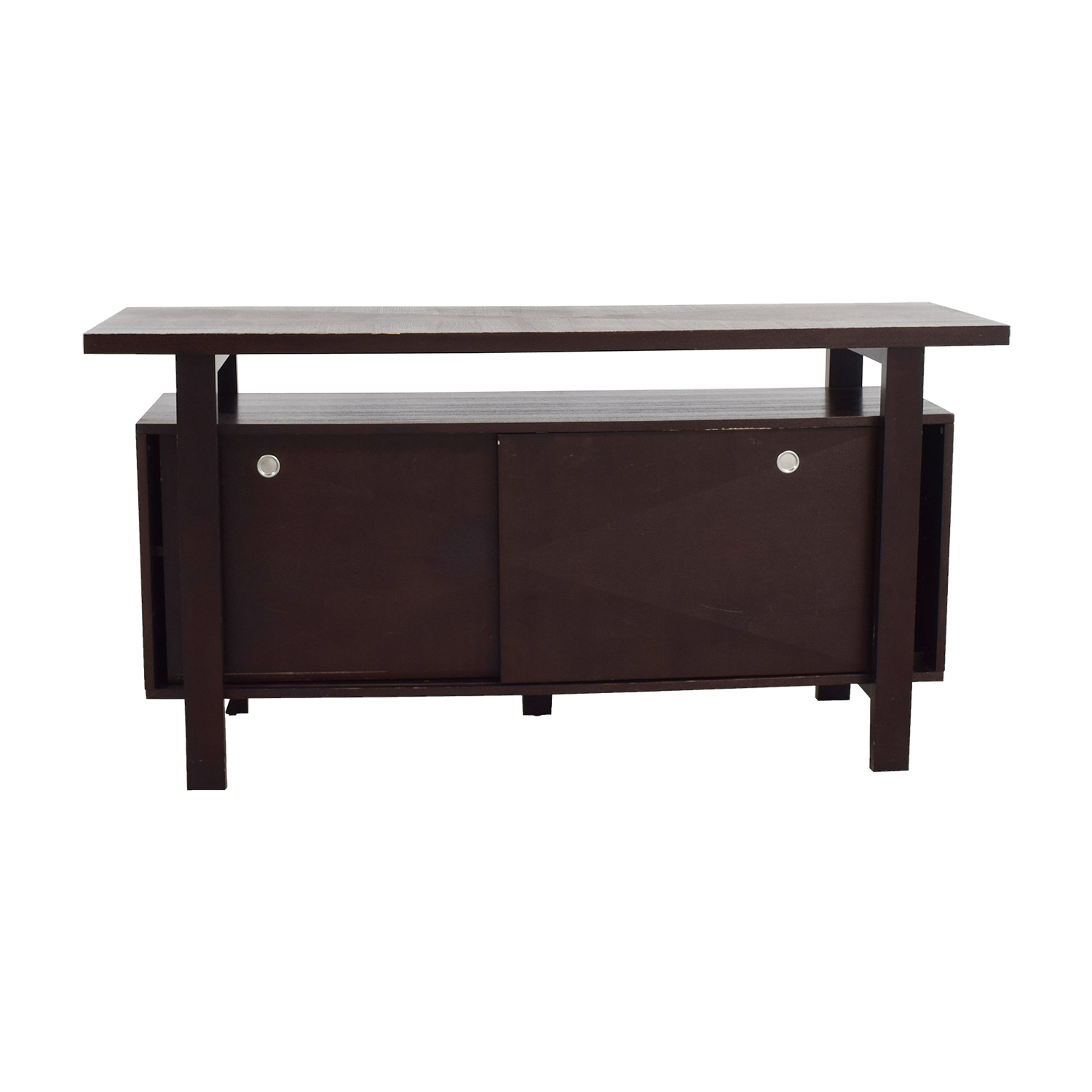 buy Brown Server with Interior Shelves Utility Tables