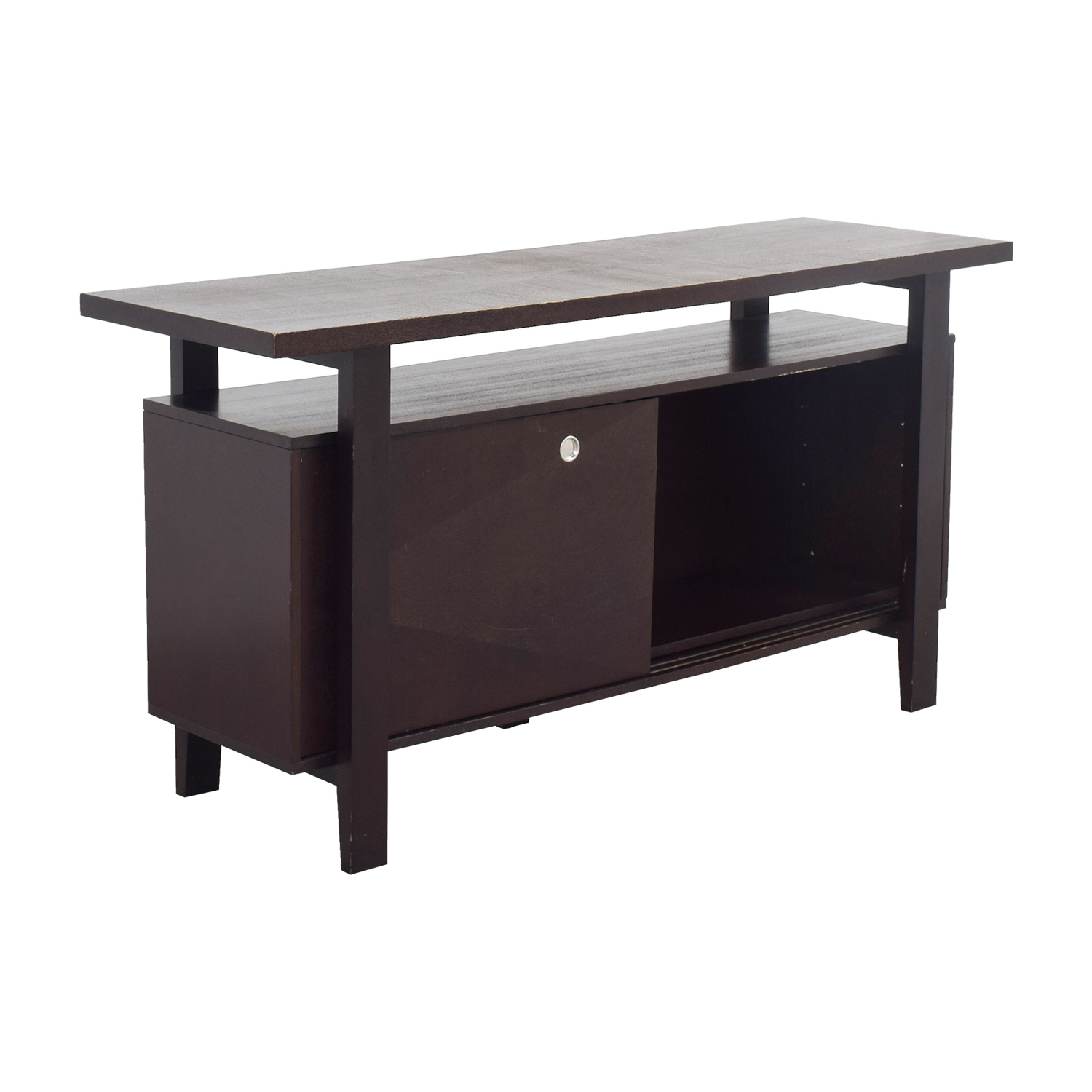 buy Brown Server with Interior Shelves