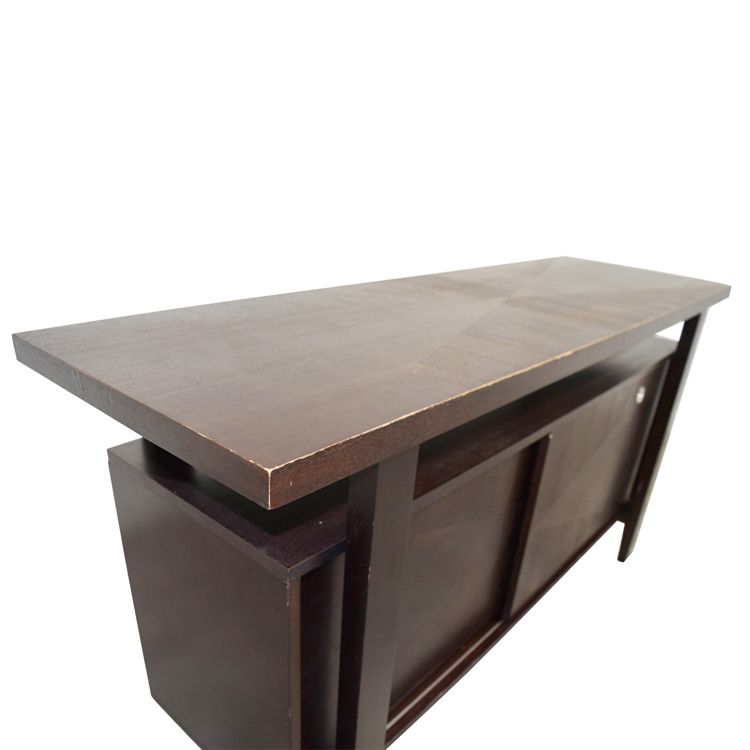 Brown Server with Interior Shelves discount