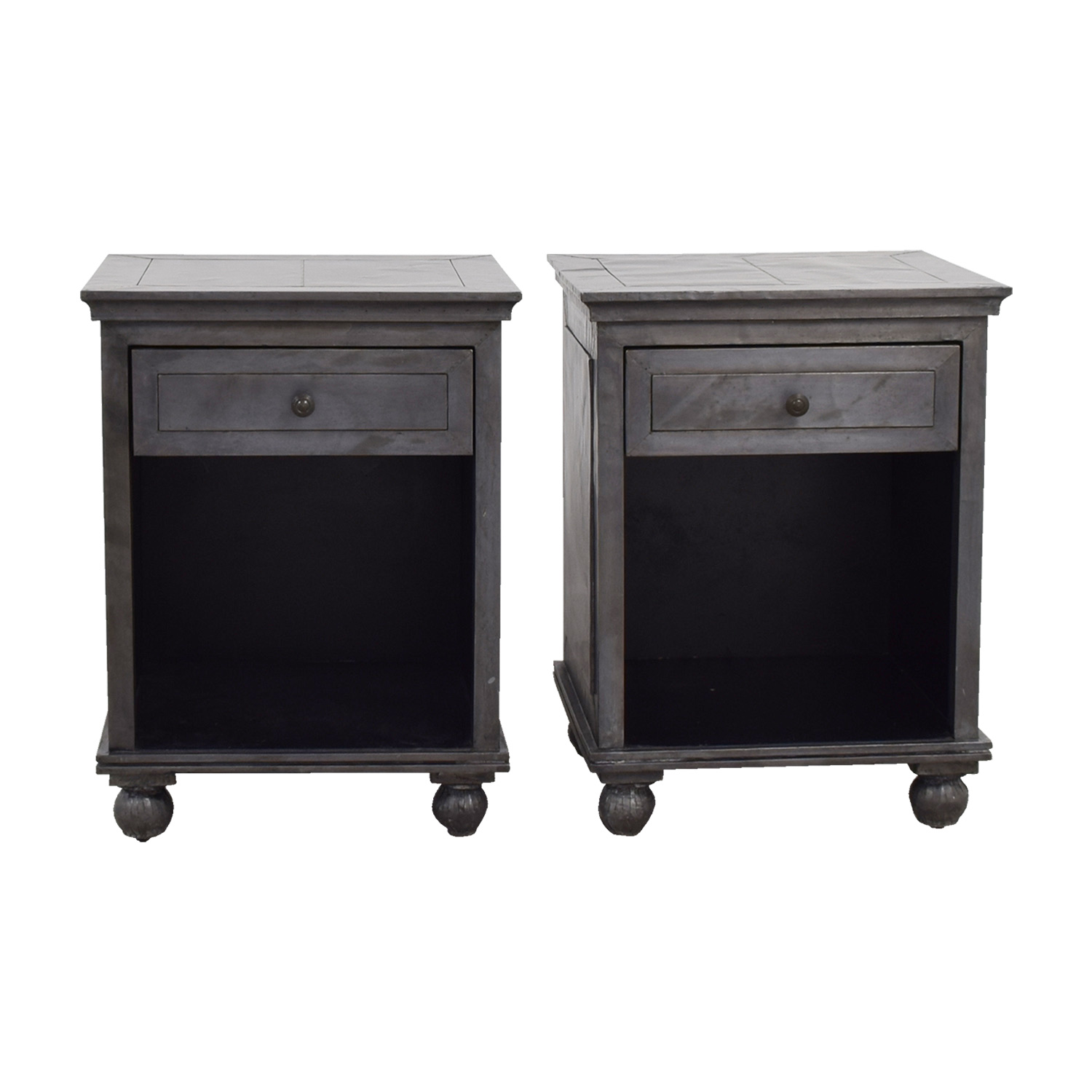 Restoration Hardware Industrial Silver Single Drawer Nightstands Restoration Hardware