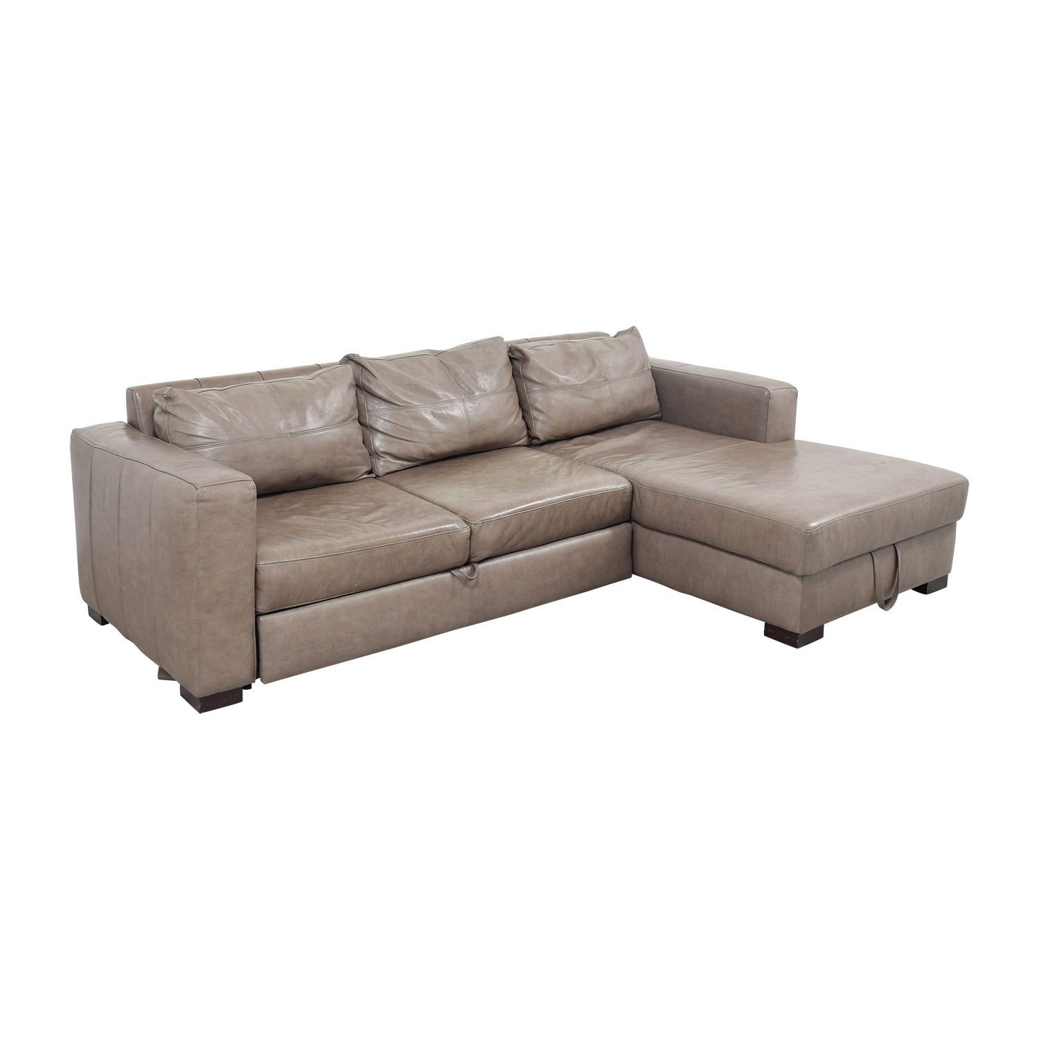 Arhaus Arhaus Grey Soft Leather Convertible Sleeper Sofa dimensions