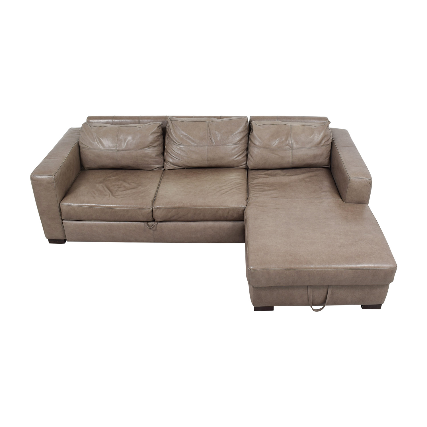 81% OFF - Arhaus Arhaus Grey Soft Leather Convertible Sleeper Sofa ...