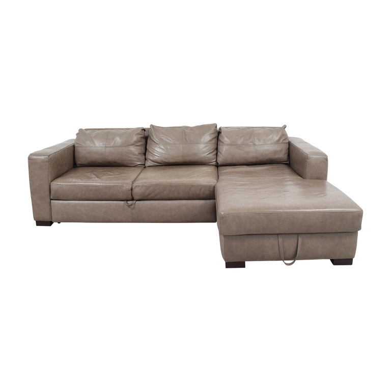 Arhaus Arhaus Grey Soft Leather Convertible Sleeper Sofa for sale