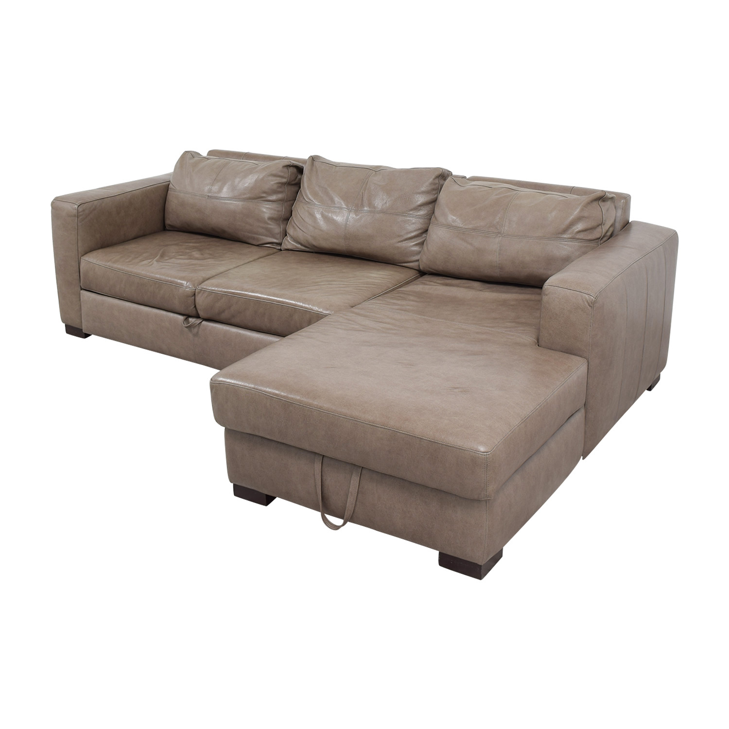 Arhaus Arhaus Grey Soft Leather Convertible Sleeper Sofa discount