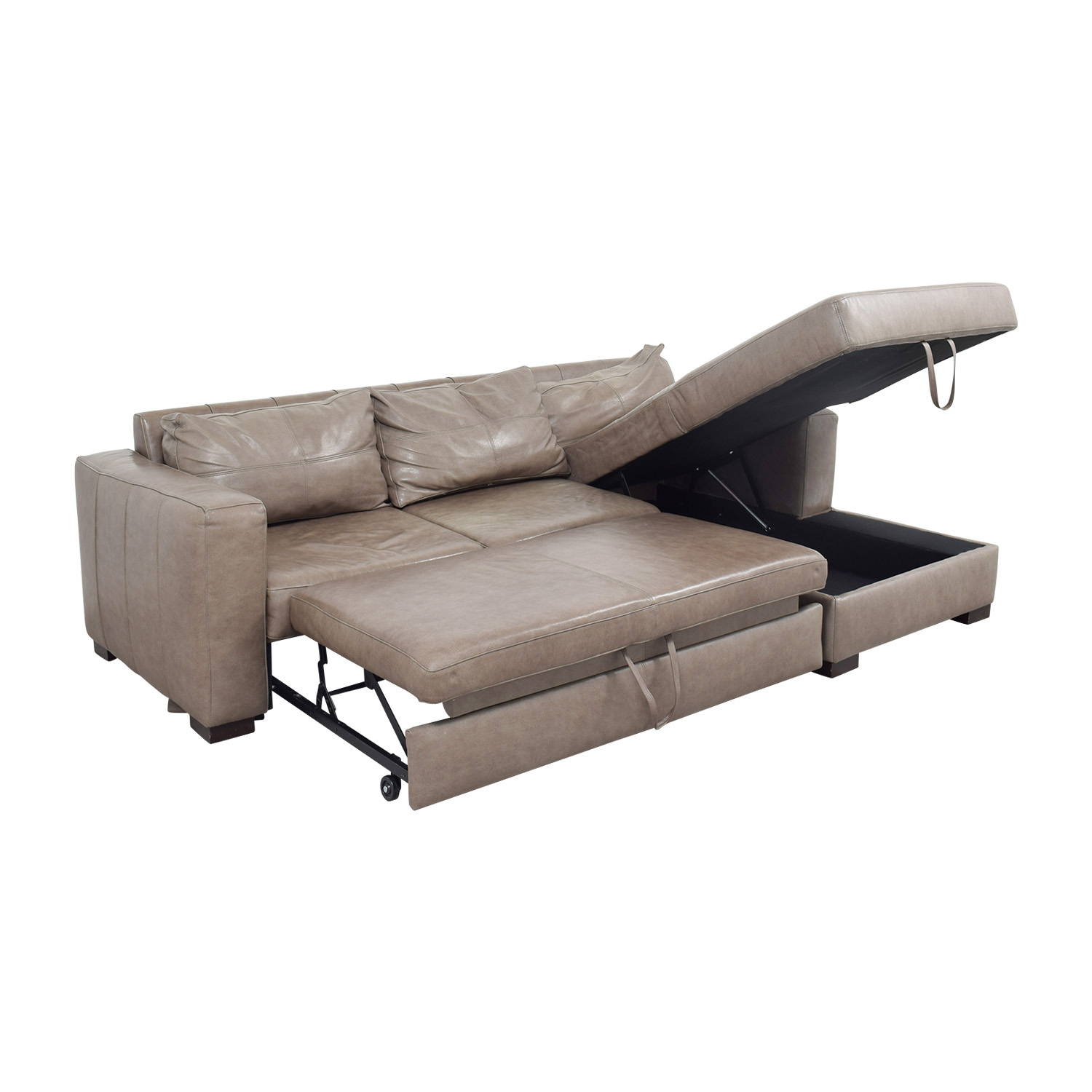 Arhaus Arhaus Grey Soft Leather Convertible Sleeper Sofa coupon