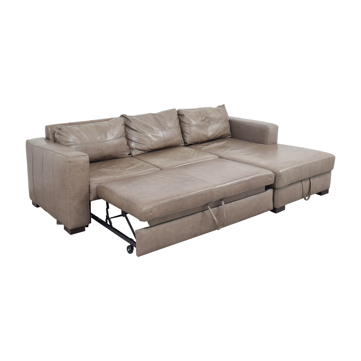 ... Arhaus Arhaus Grey Soft Leather Convertible Sleeper Sofa Coupon ...