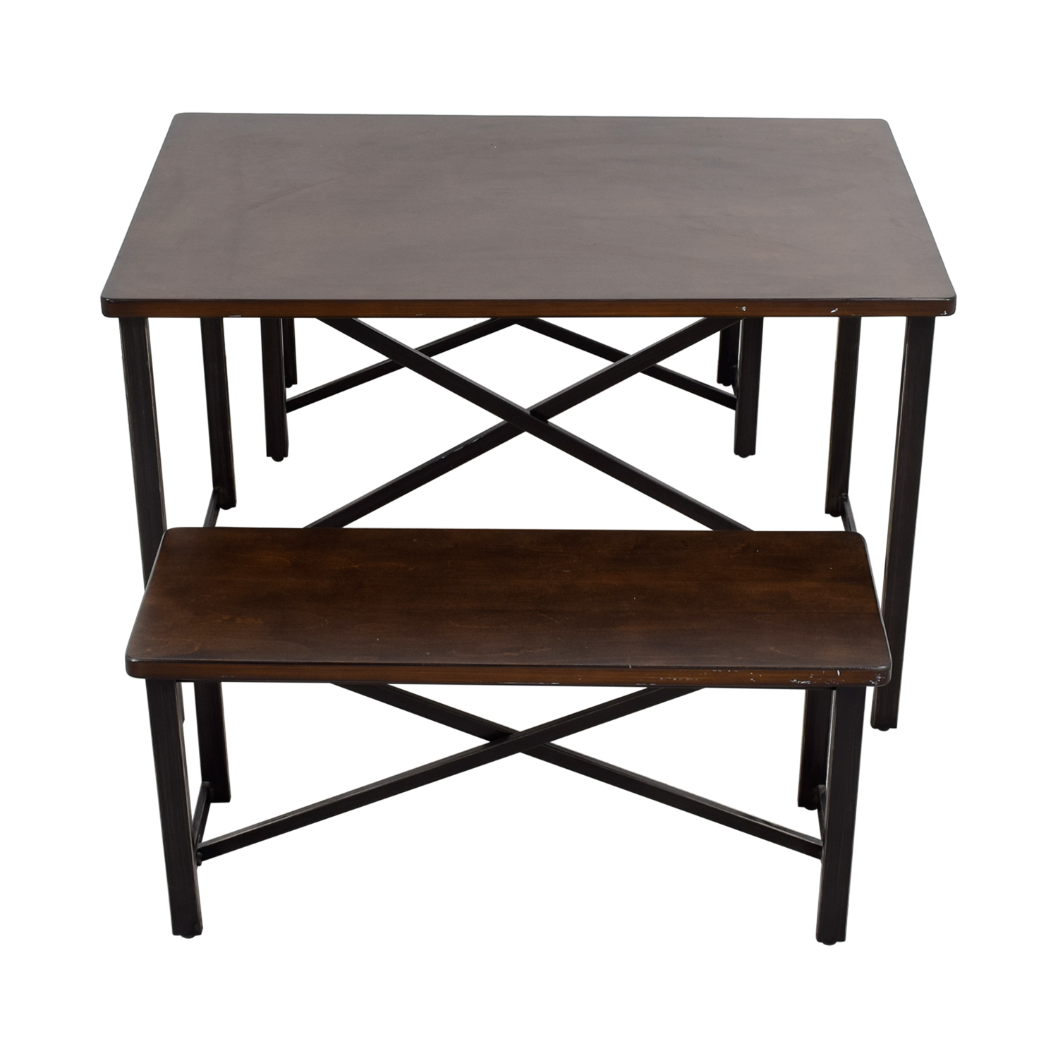 Ashley Furniture Wood and Metal Bench Dining Set Ashley Furniture