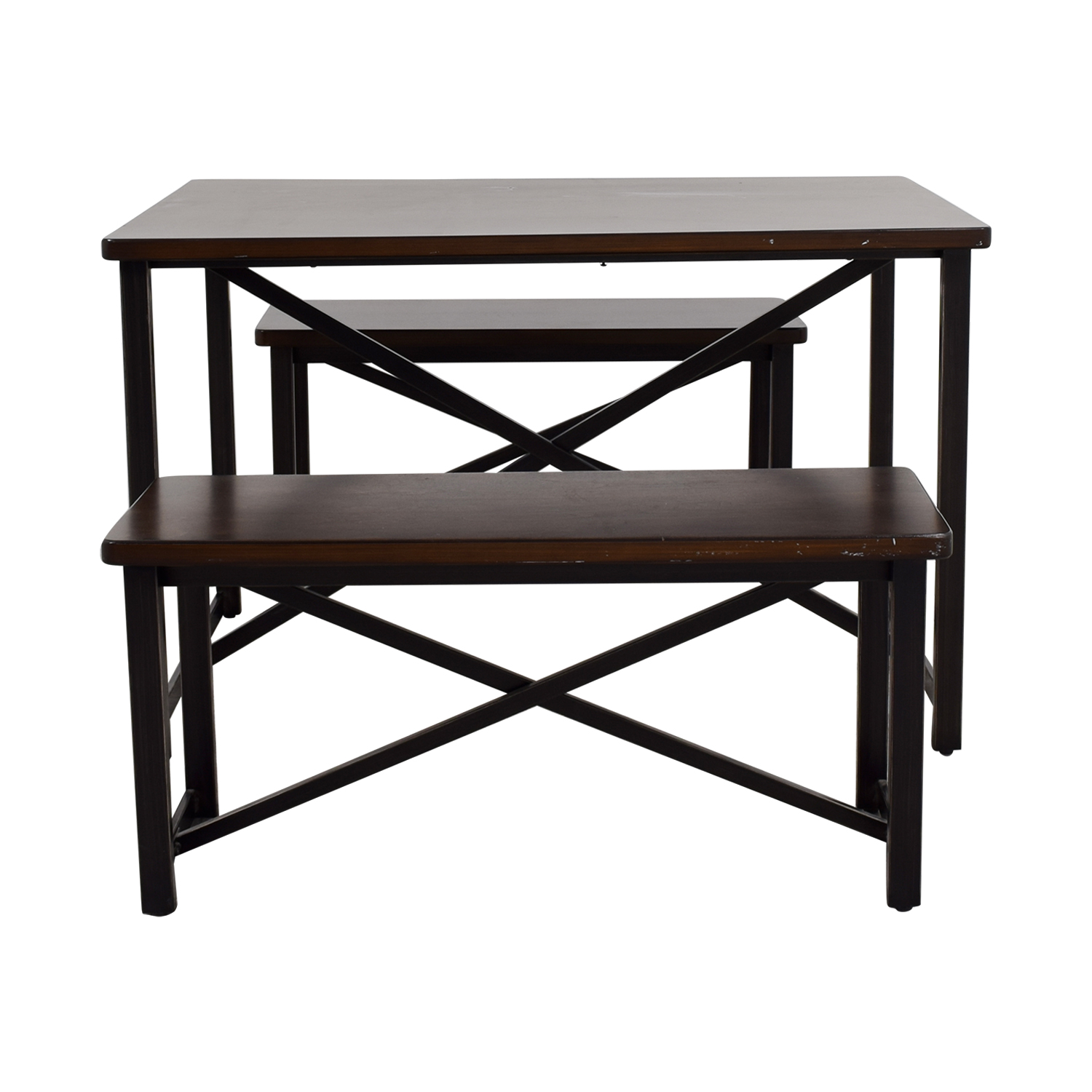 Ashley Furniture Wood and Metal Bench Dining Set / Dining Sets