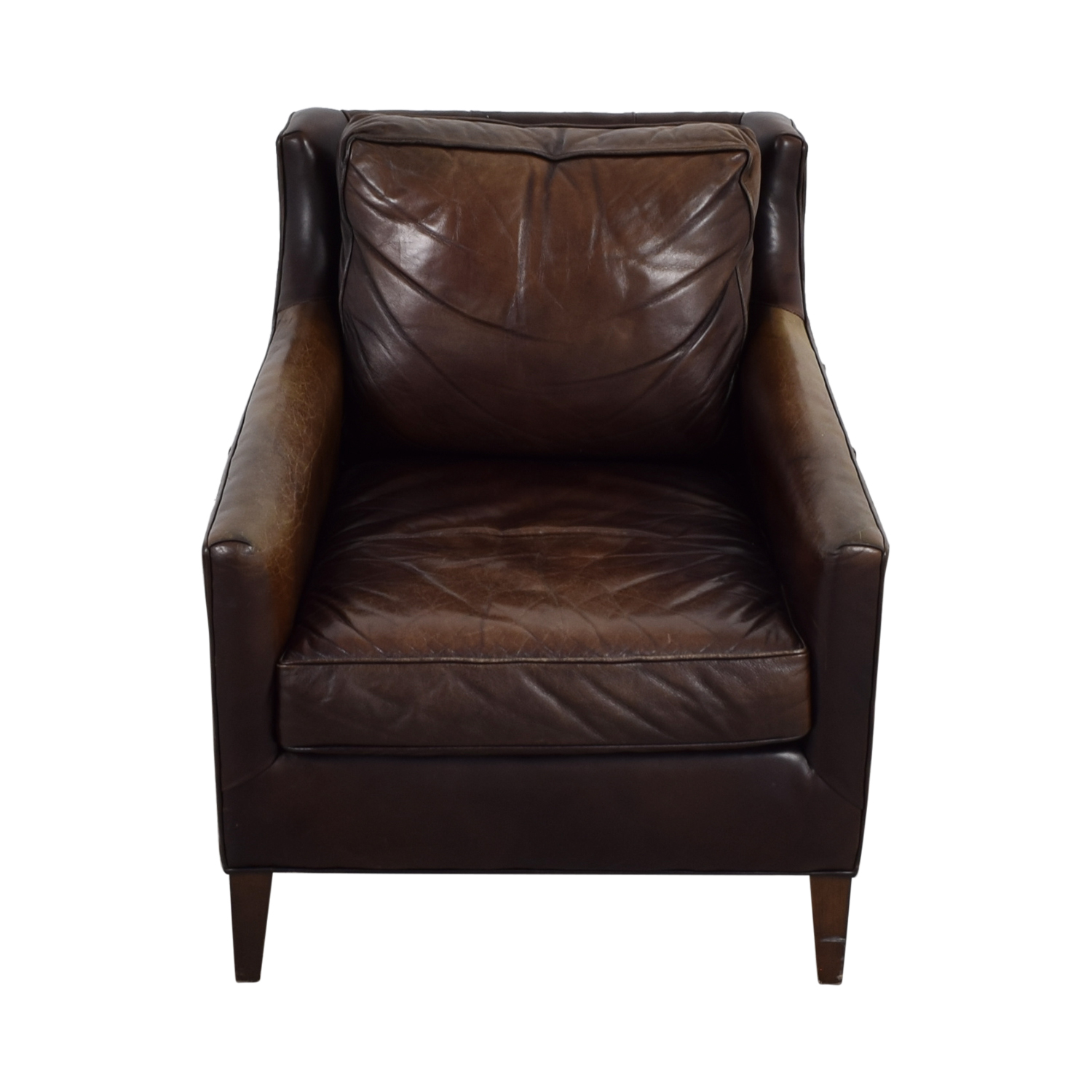 62% OFF - Pottery Barn Pottery Barn Brown Leather Armchair ...