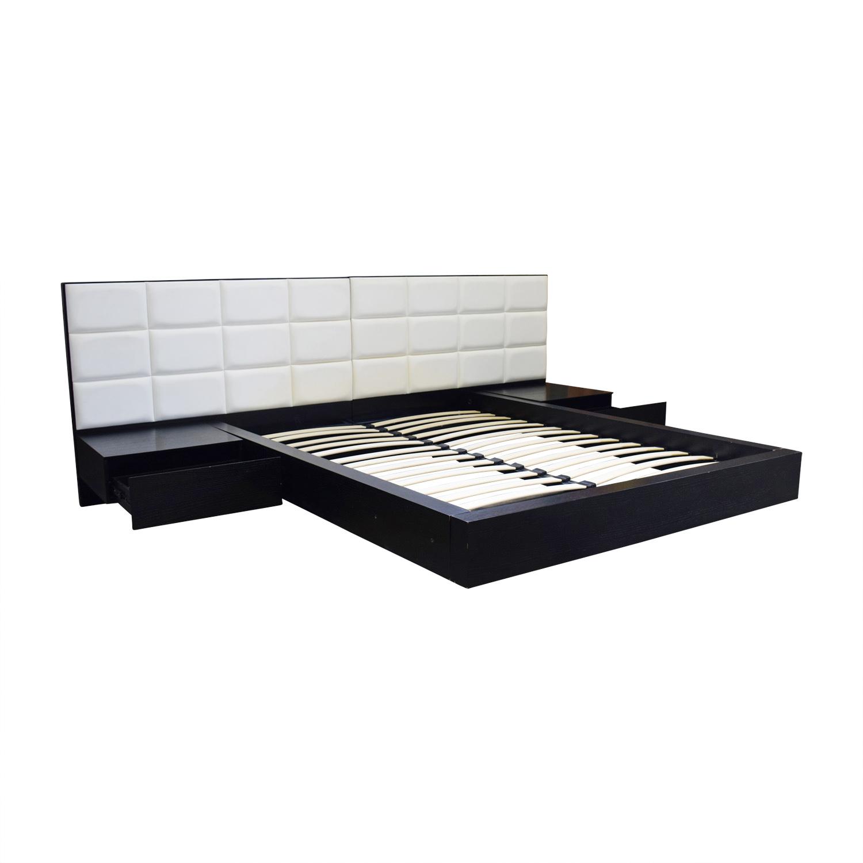 shop El Dorado Minimalist White Leather and Wood Platform Queen Bed Frame El Dorado