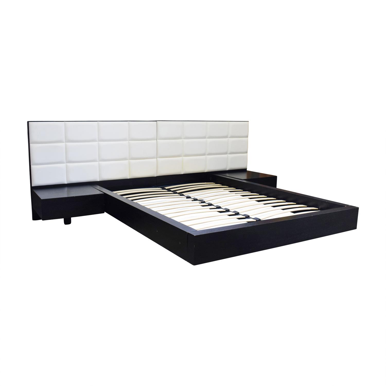 buy El Dorado Minimalist White Leather and Wood Platform Queen Bed Frame El Dorado Beds