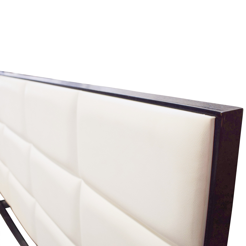 El Dorado El Dorado Minimalist White Leather and Wood Platform Queen Bed Frame coupon