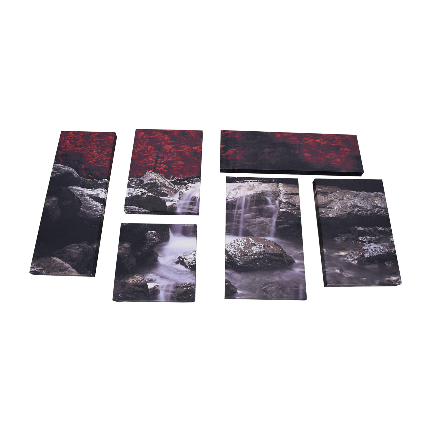 HomeGoods HomeGoods Red Black and Grey River and Rocks Painting discount