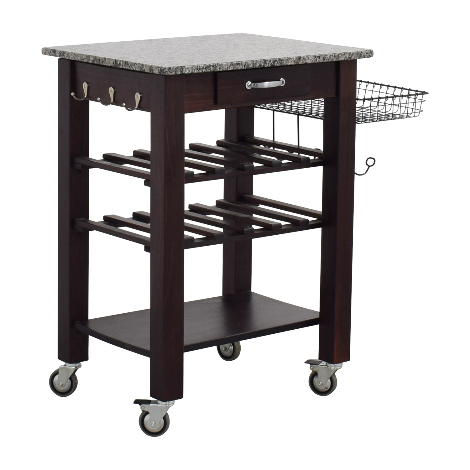 Home Goods Marble Top And Wood Base Kitchen Cart Nyc