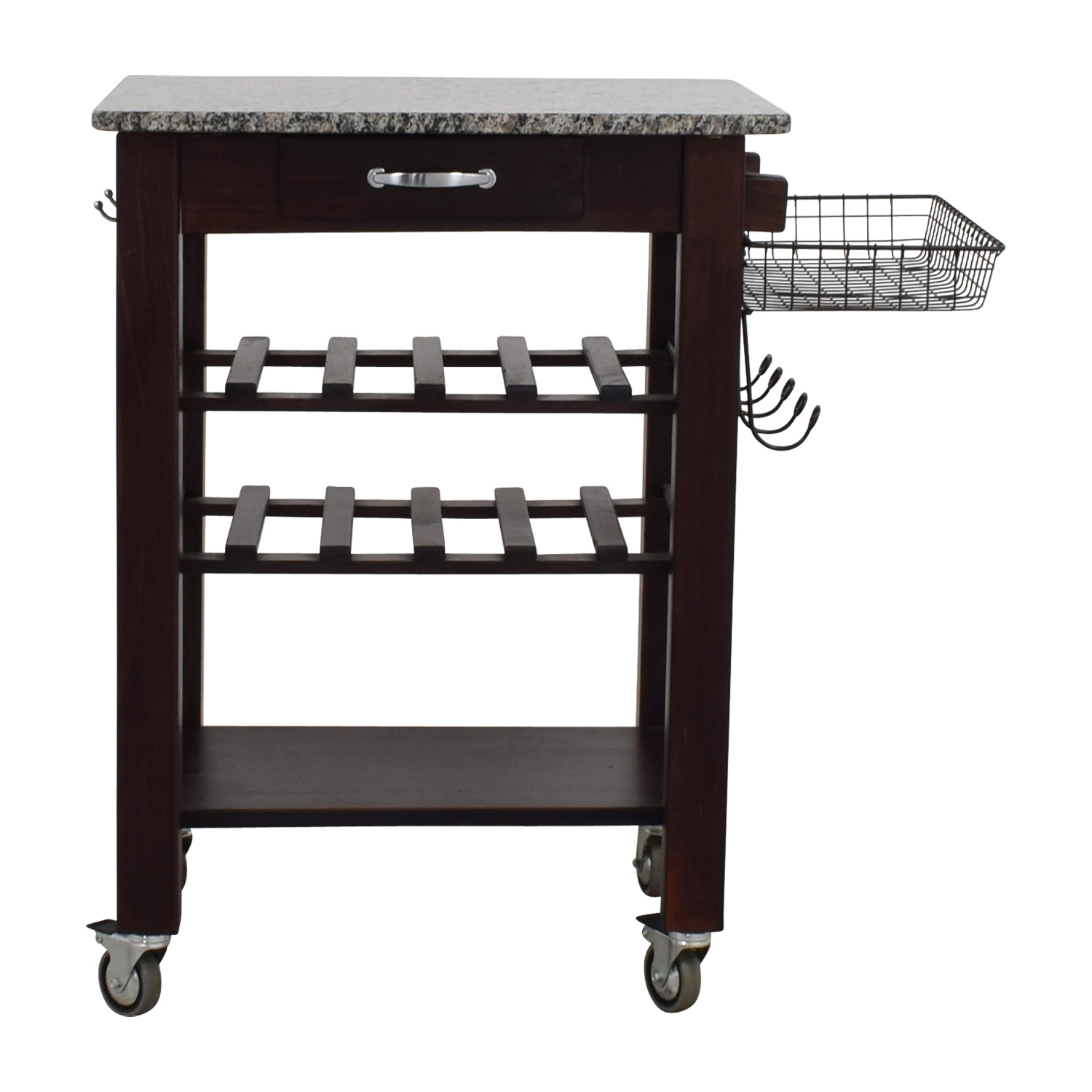 Home Goods Home Goods Marble Top And Wood Base Kitchen Cart Second Hand