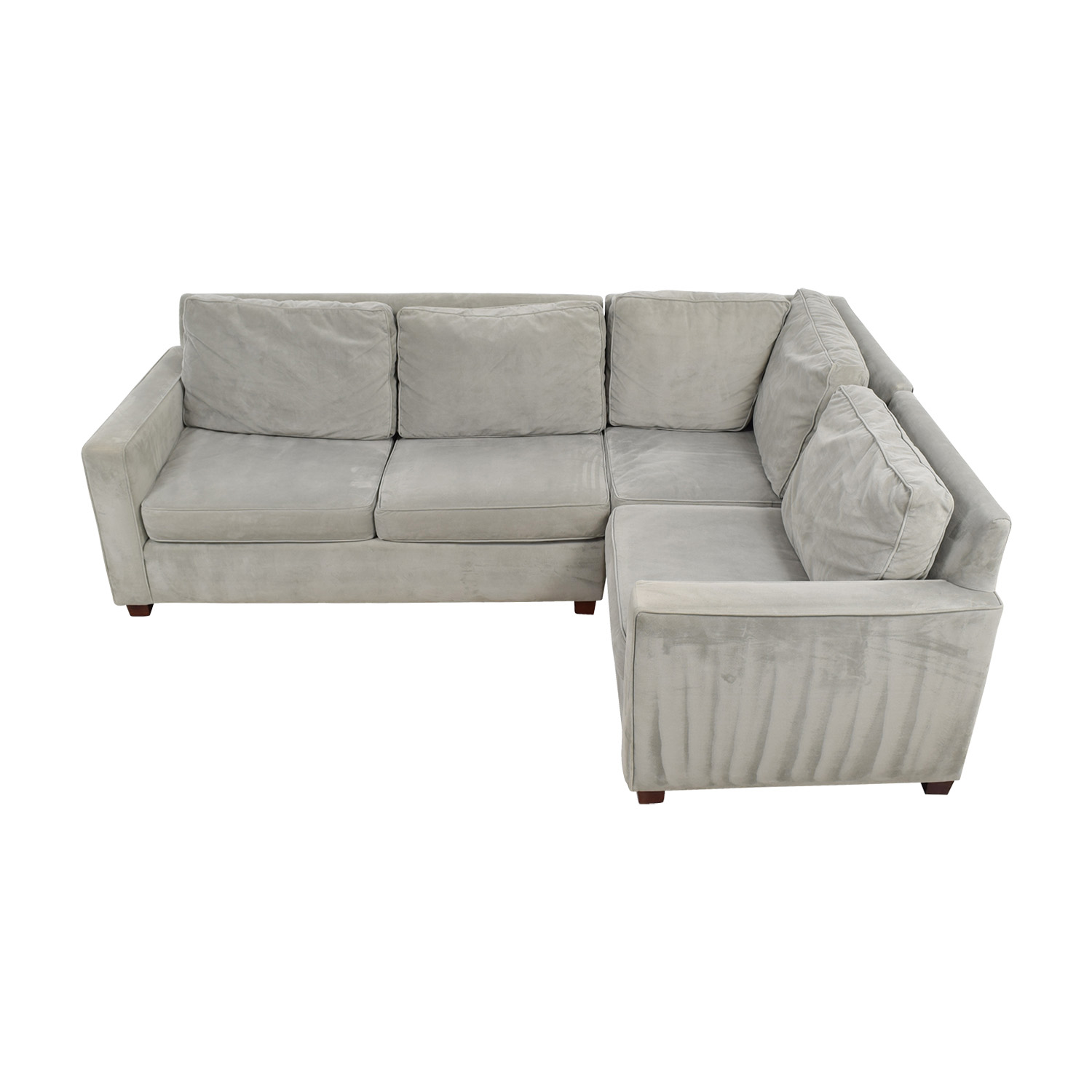 West Elm West Elm Henry Velvet Stone Sectional for sale