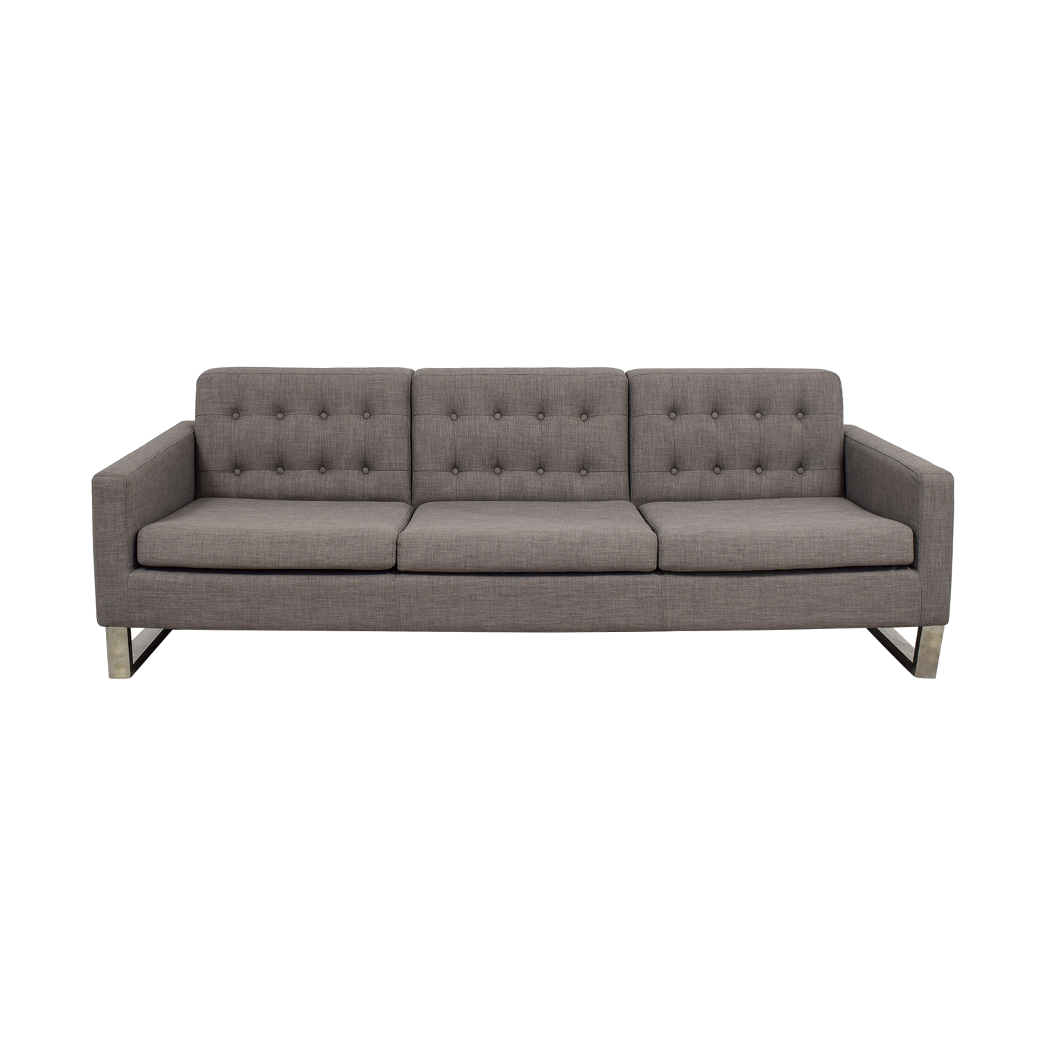 shop Pangea Sloan Grey Tufted Three-Cushion Sofa Pangea