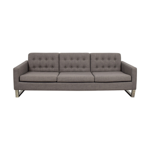 Pangea Sloan Grey Tufted Three-Cushion Sofa sale