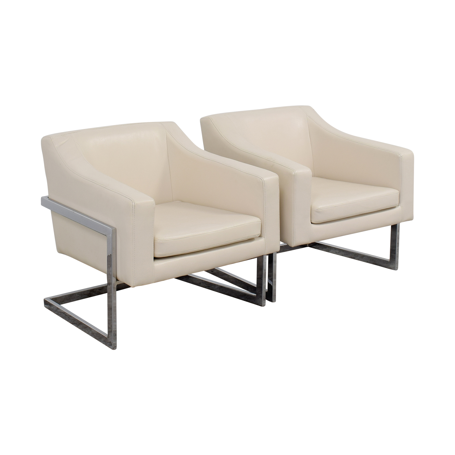 Off coaster white leatherette accent chairs