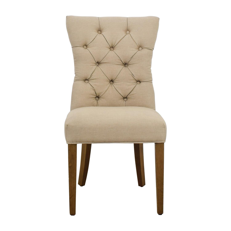 shop Surya Matisse Beige Tufted Linen Chair Surya