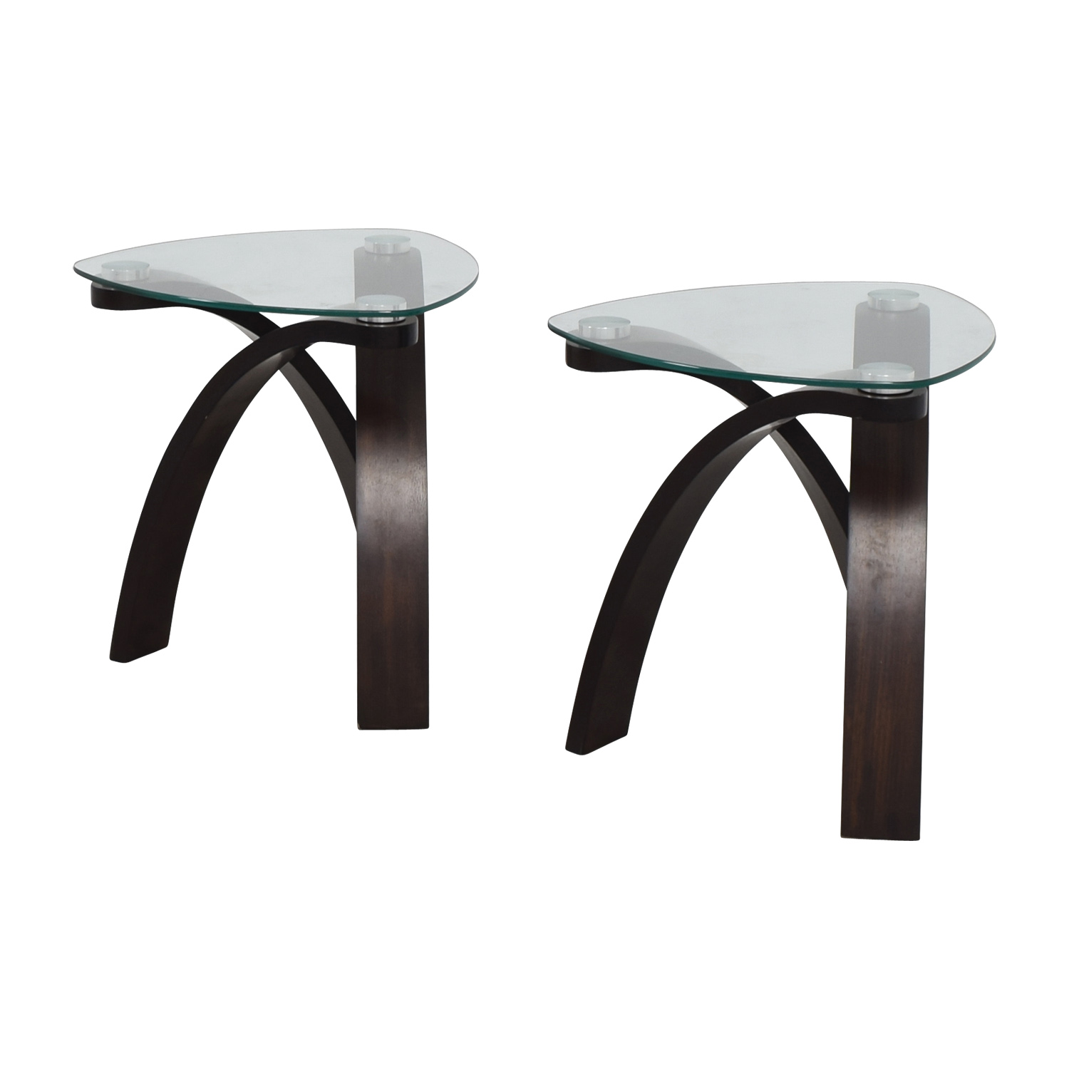 Picture of: 75 Off Rooms To Go Rooms To Go Rounded Triangular Glass End Tables Tables