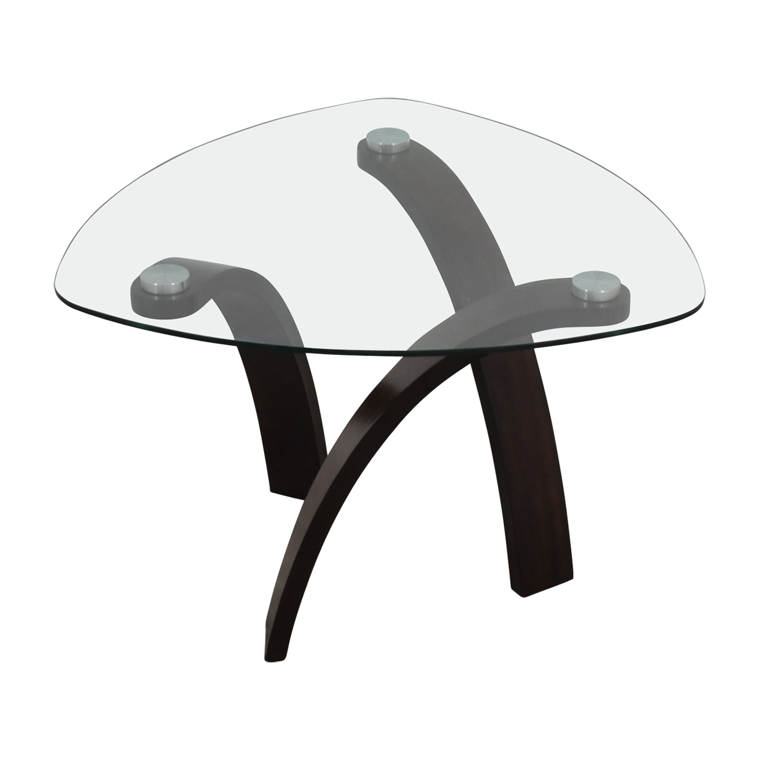 Rooms To Go Rooms To Go Rounded Triangular Glass End Table