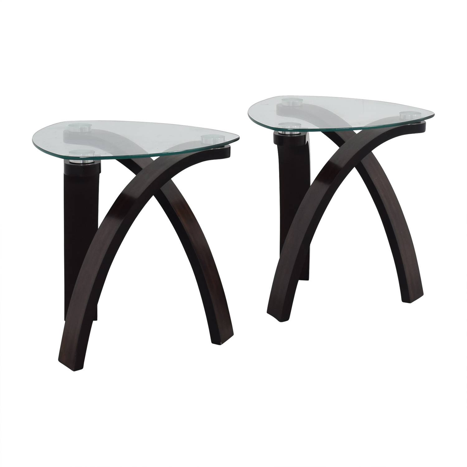 OFF Rooms To Go Rooms To Go Rounded Triangular Glass End - Black triangle end table
