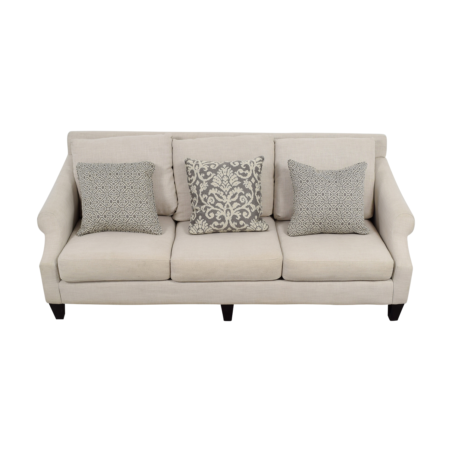 shop Rooms To Go Off Beige Three-Cushion Couch Rooms To Go Classic Sofas