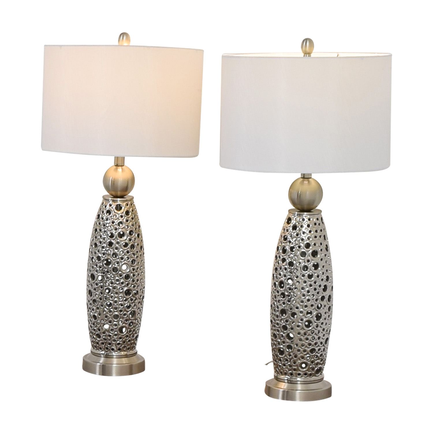 buy Rooms To Go Filigree Circle Silver Lamps Rooms To Go Decor