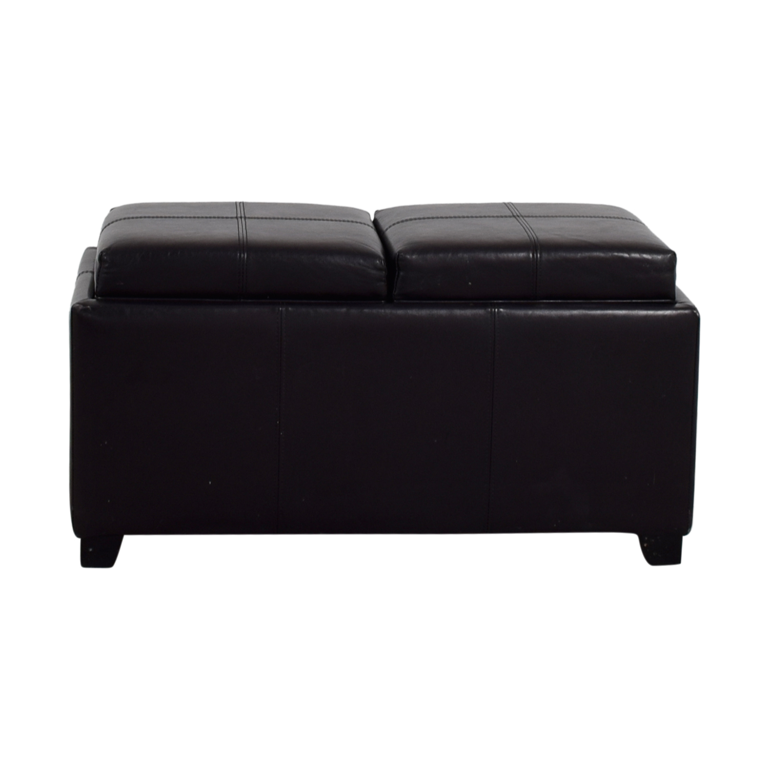 Brown Leather Ottoman with Storage on sale