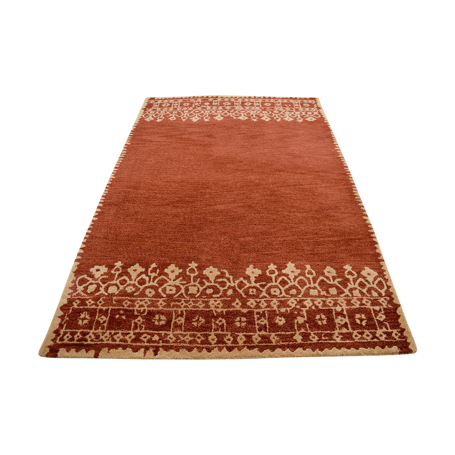 buy Pottery Barn Desa Bordered Tan and Red Wool Rug Pottery Barn Rugs