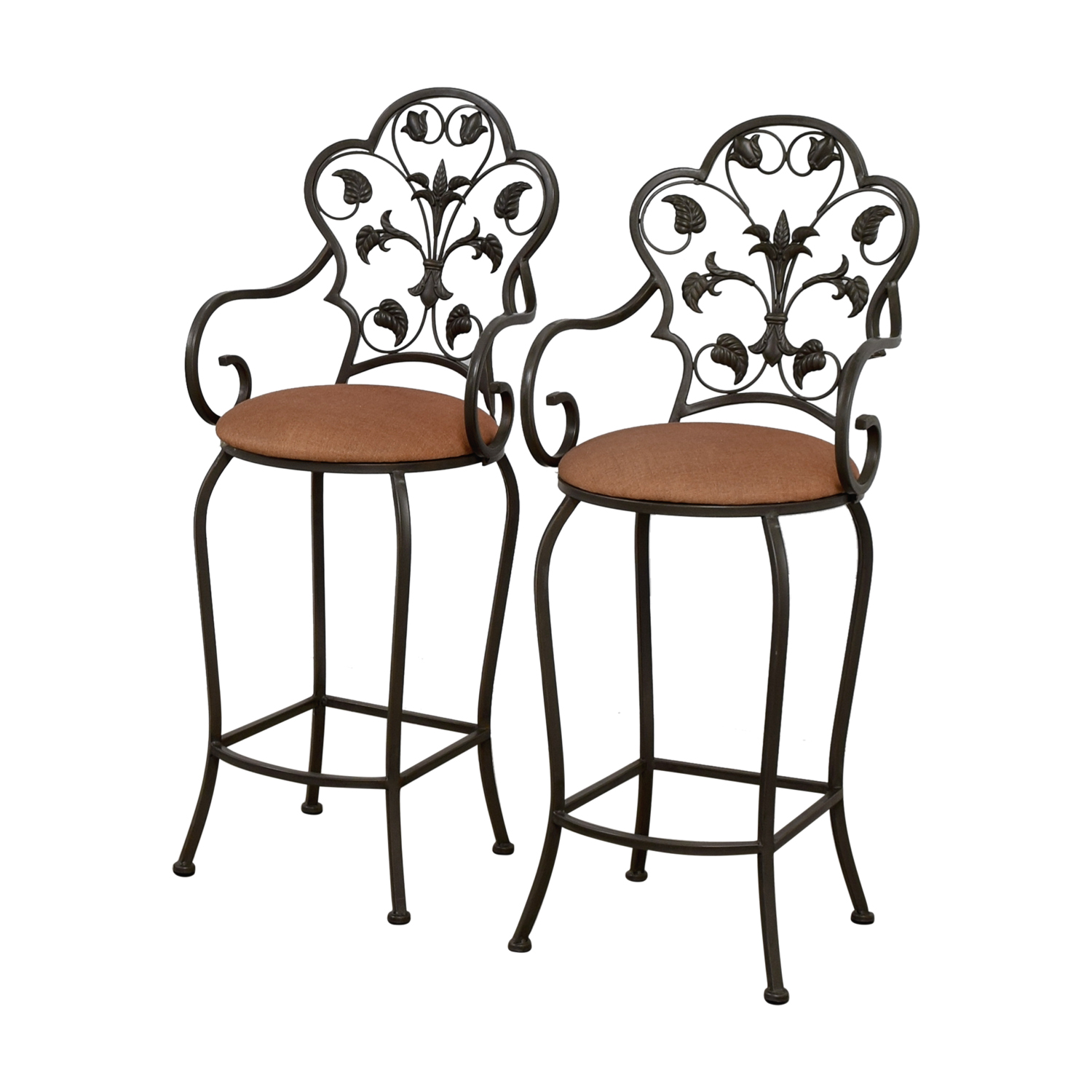 Pleasing 70 Off Scrolled Metal Folding Back Bar Stools Chairs Alphanode Cool Chair Designs And Ideas Alphanodeonline