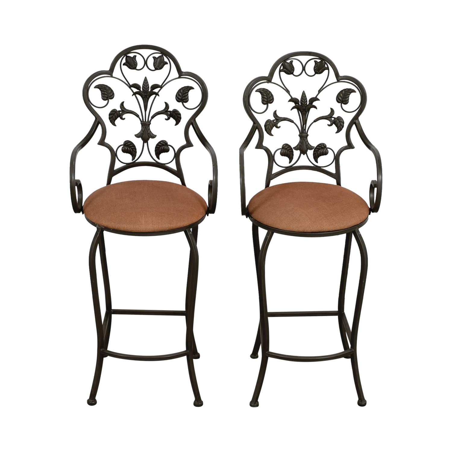 Fabulous 70 Off Scrolled Metal Folding Back Bar Stools Chairs Alphanode Cool Chair Designs And Ideas Alphanodeonline