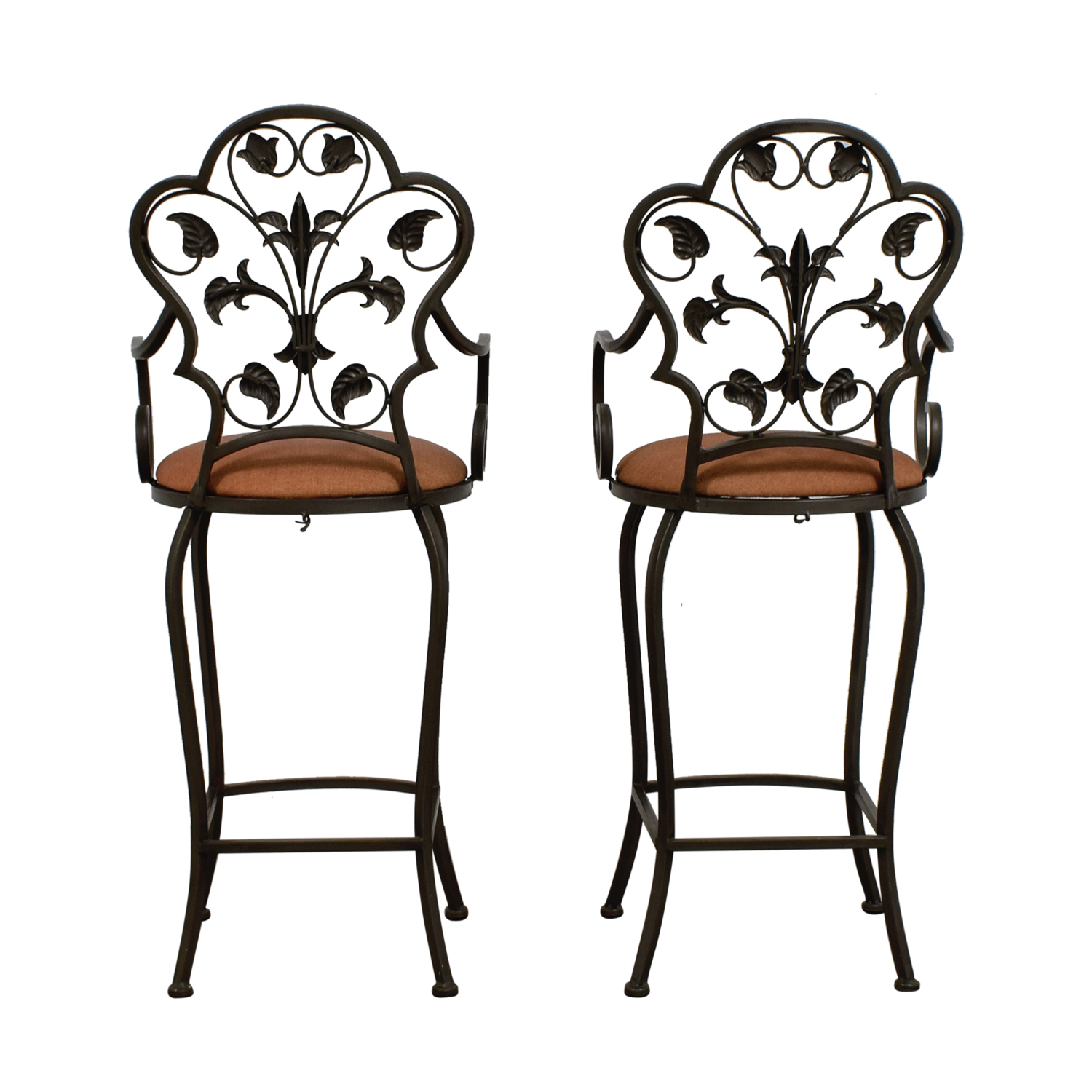 Scrolled Metal Folding Back Bar Stools on sale