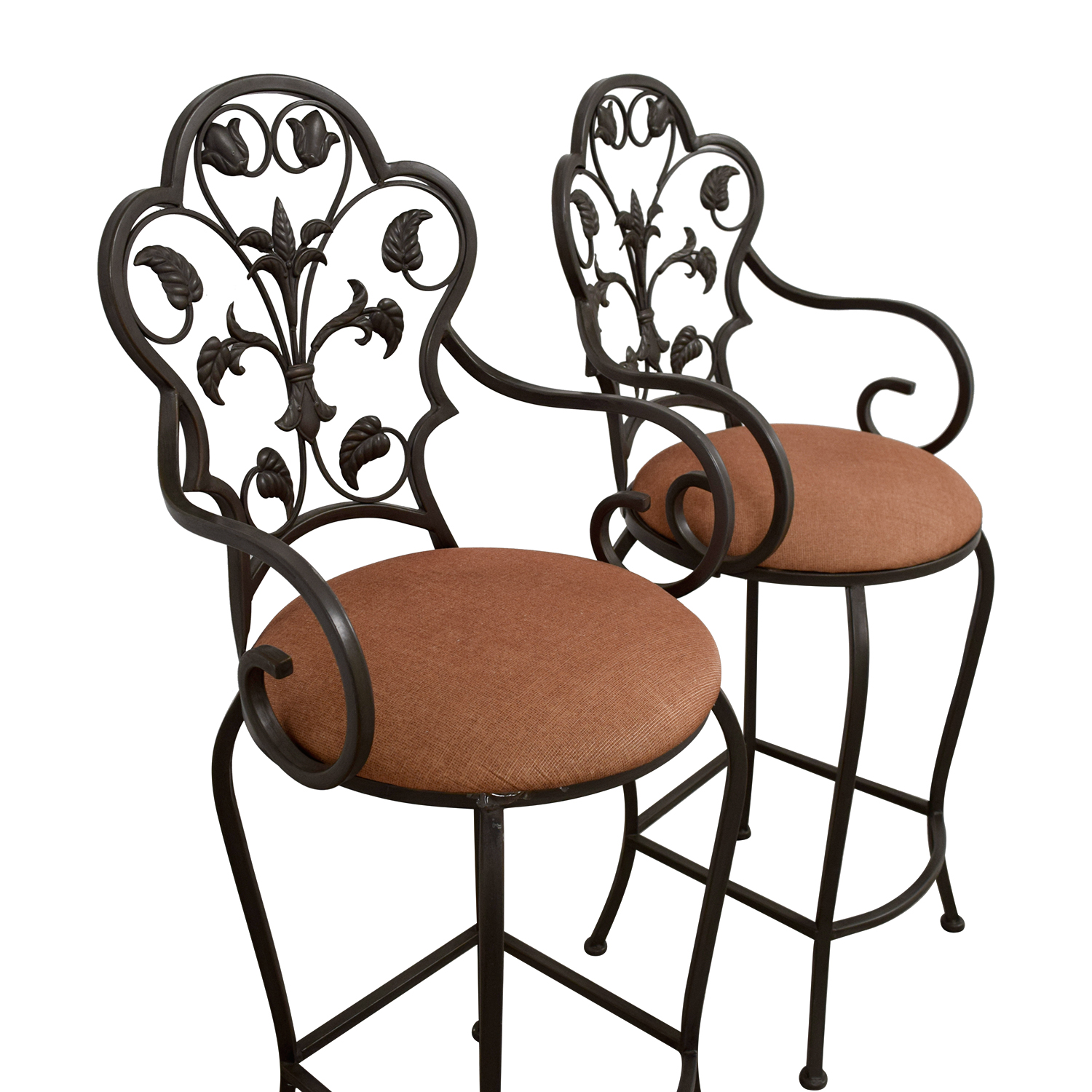 Peachy 70 Off Scrolled Metal Folding Back Bar Stools Chairs Alphanode Cool Chair Designs And Ideas Alphanodeonline