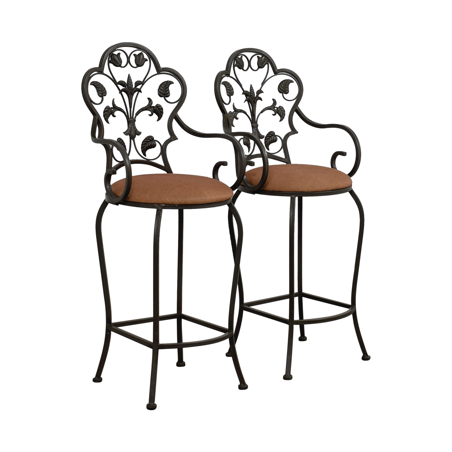 70 Off Scrolled Metal Folding Back Bar Stools Chairs