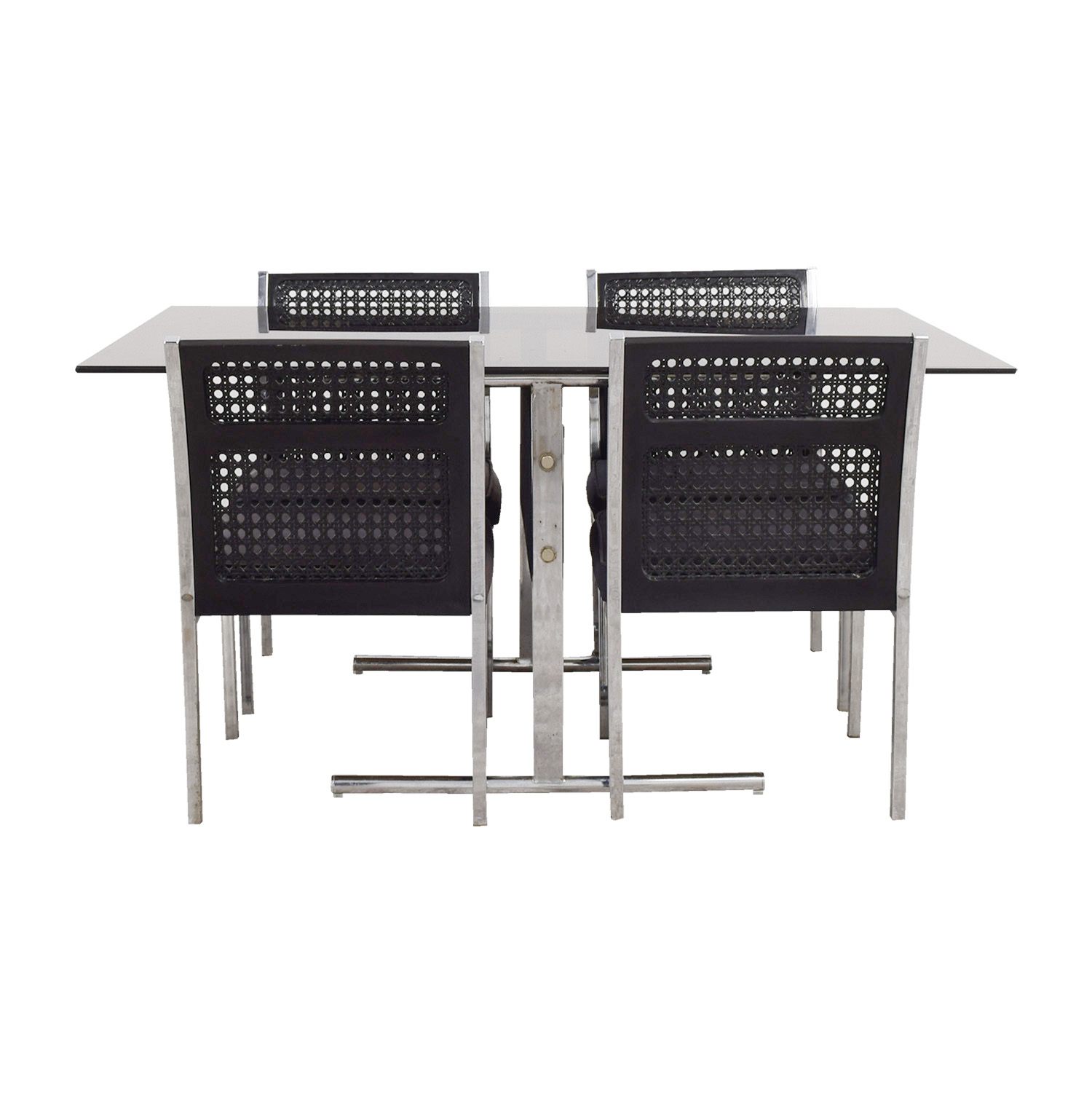 buy By Design By Design Black Cane Back Chairs with Glass Table Dining Set online