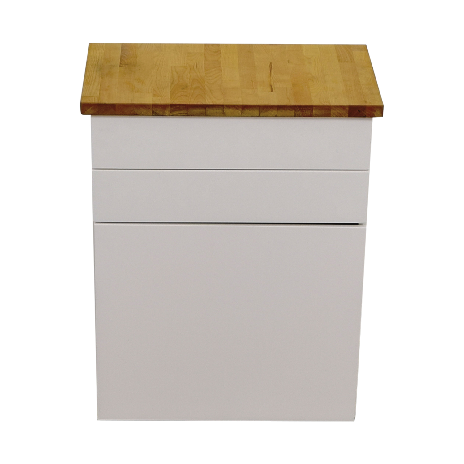 IKEA White Butcher Block Counter Cabinet with Two Drawers sale